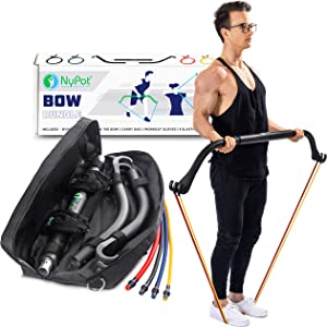 NYPOT Bow Portable Resistance Bands - Home Gym Workout Kit - Fitness Equipment Set - 4 Resistance Bands - Full Body Training Kit - Weightlifting & Exercise Kit for Men & Women