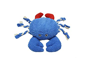 Patchwork Pet Nautical 8-Inch Crab Dog Chew Toy with Rope Legs