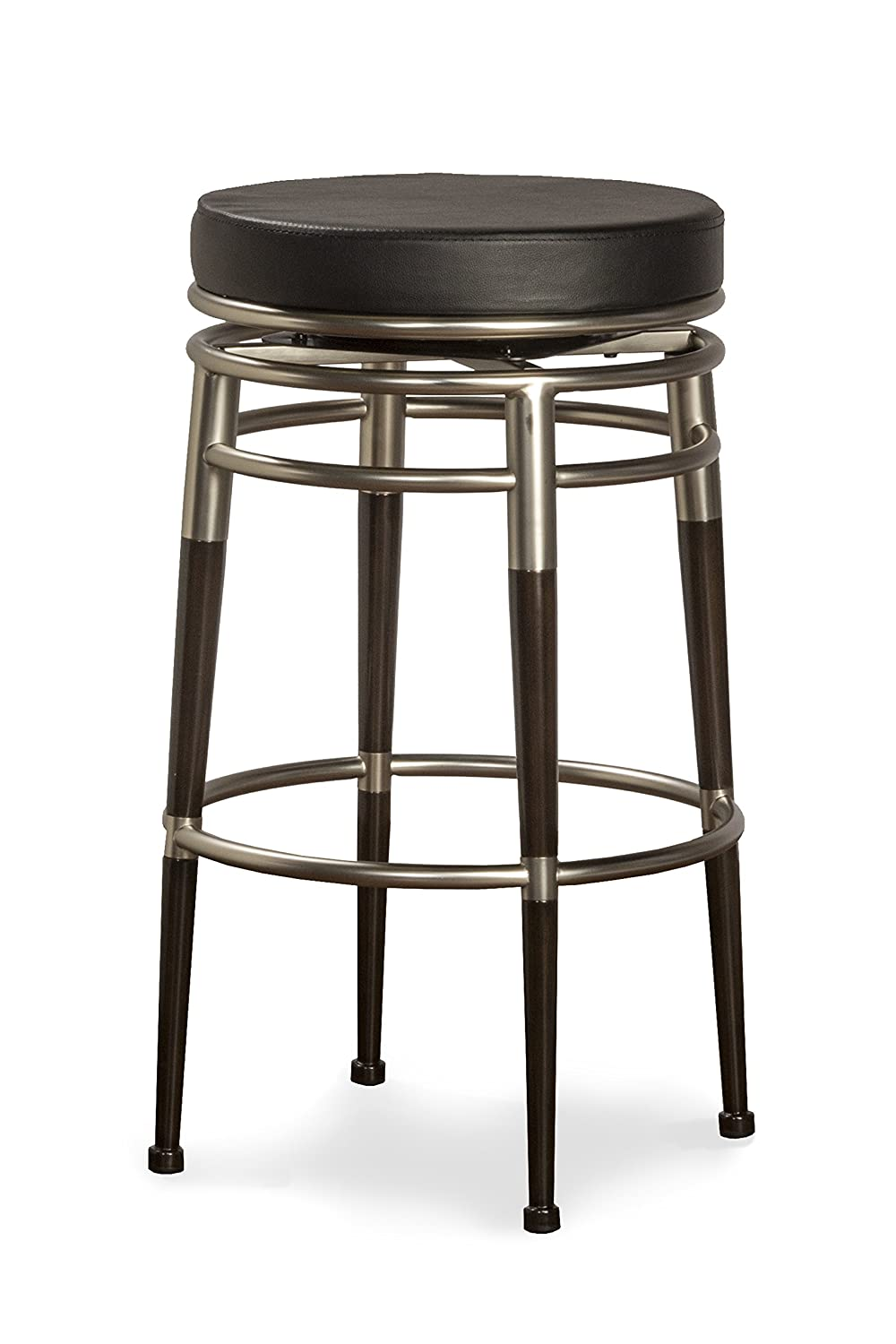 Polished Chrome and Rich Maple Accents with Black Vinyl Hillsdale Salem 26-Inch Backless Swivel Counter Stool