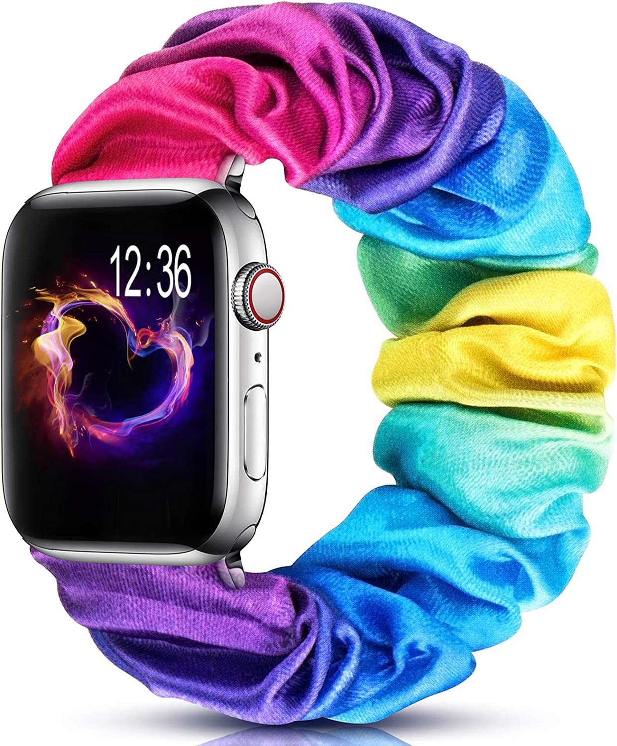 ZALAVER Scrunchie Band Compatible with Apple Watch 38mm 40mm 42mm 44mm, Soft Fabric Elastic Wrist Bracelet Replacement Wristbands for iwatch Series 5/4/3/2/1 Women Men