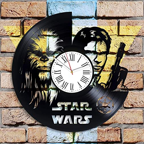 Kovides Chewbacca and Han Solo Art Star Wars Movie Handmade Decor for Nursery Jedi Wall Decor Vintage Vinyl Record Clock Unique Decoration Star Wars Wall Clock Birthday Gifts
