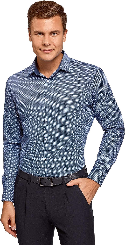 oodji Ultra Hombre Camisa Entallada con Dibujo Pequeño