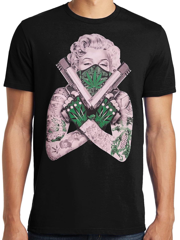 LiberTEES Big and Tall King Size Marilyn Guns Tattoos, Pot Bandanna T-Shirt