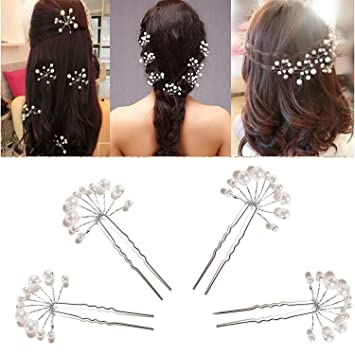 Amazon Com Coscosx 10 Pcs White Crystal Rhinestone Hair Pins Pearl