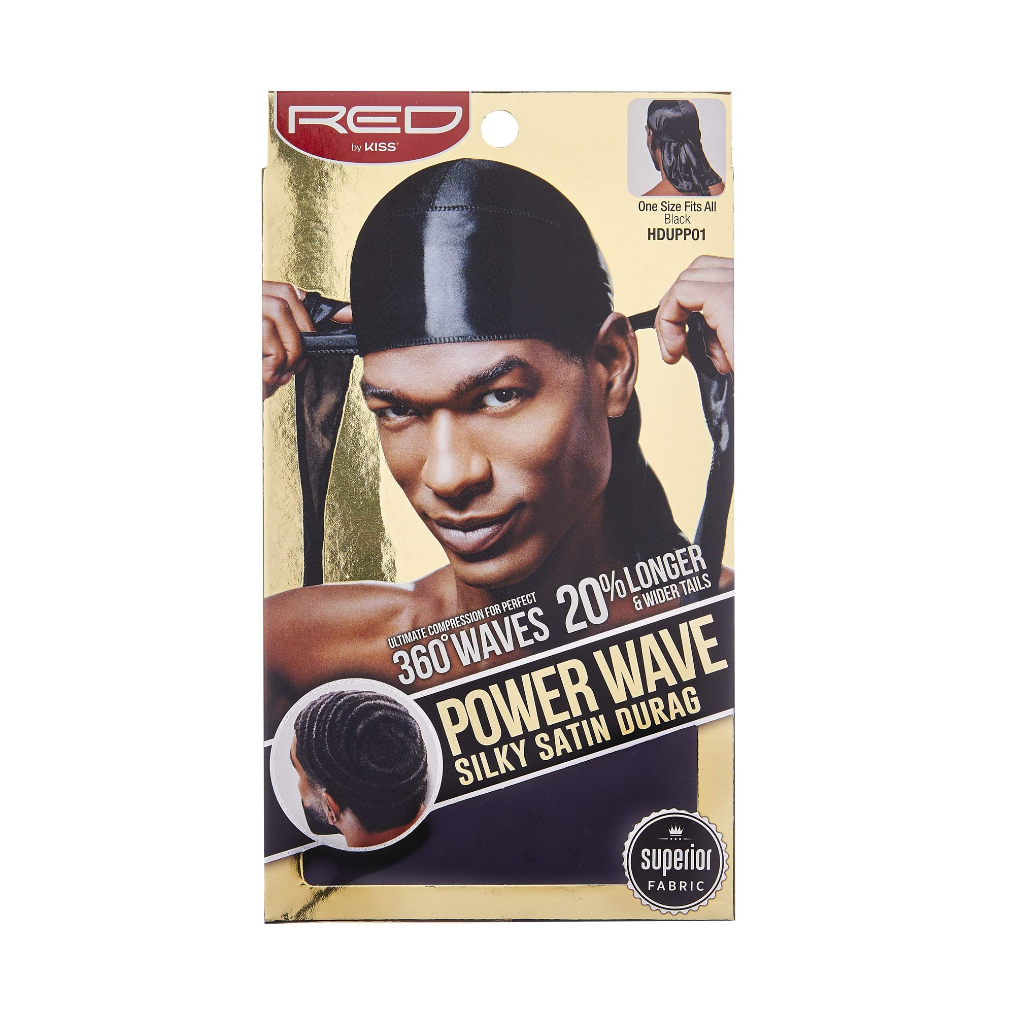 Red By Kiss Power Wave Silky Satin Durag Extra Long Tails (Black)
