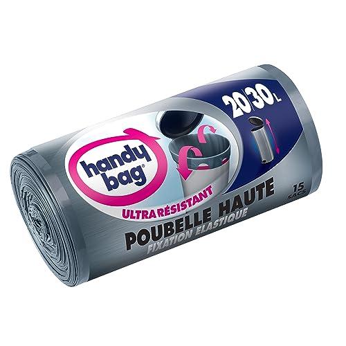 Handy Bag - 15 Sacs Poubelle 30 L, Pour Poubelles Hautes, Fixation Élastique, Ultra Résistant, Anti-Fuites, 47 x 78 cm,Gris Foncé, Opaque - LOT de 2