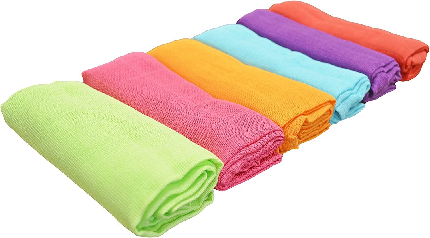 Cuddles Collection Muslin Squares Rainbow, Pack of 6