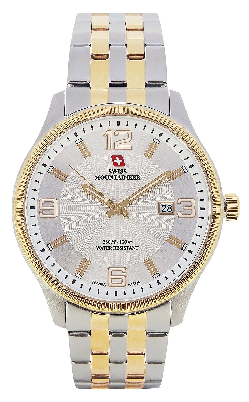 Amazon.com: Swiss Mountaineer Mens Watch Two Tone Stainless Steel Bracelet Gold Tone Bezel Date Reloj SM8001: Swiss Mountaineer: Watches