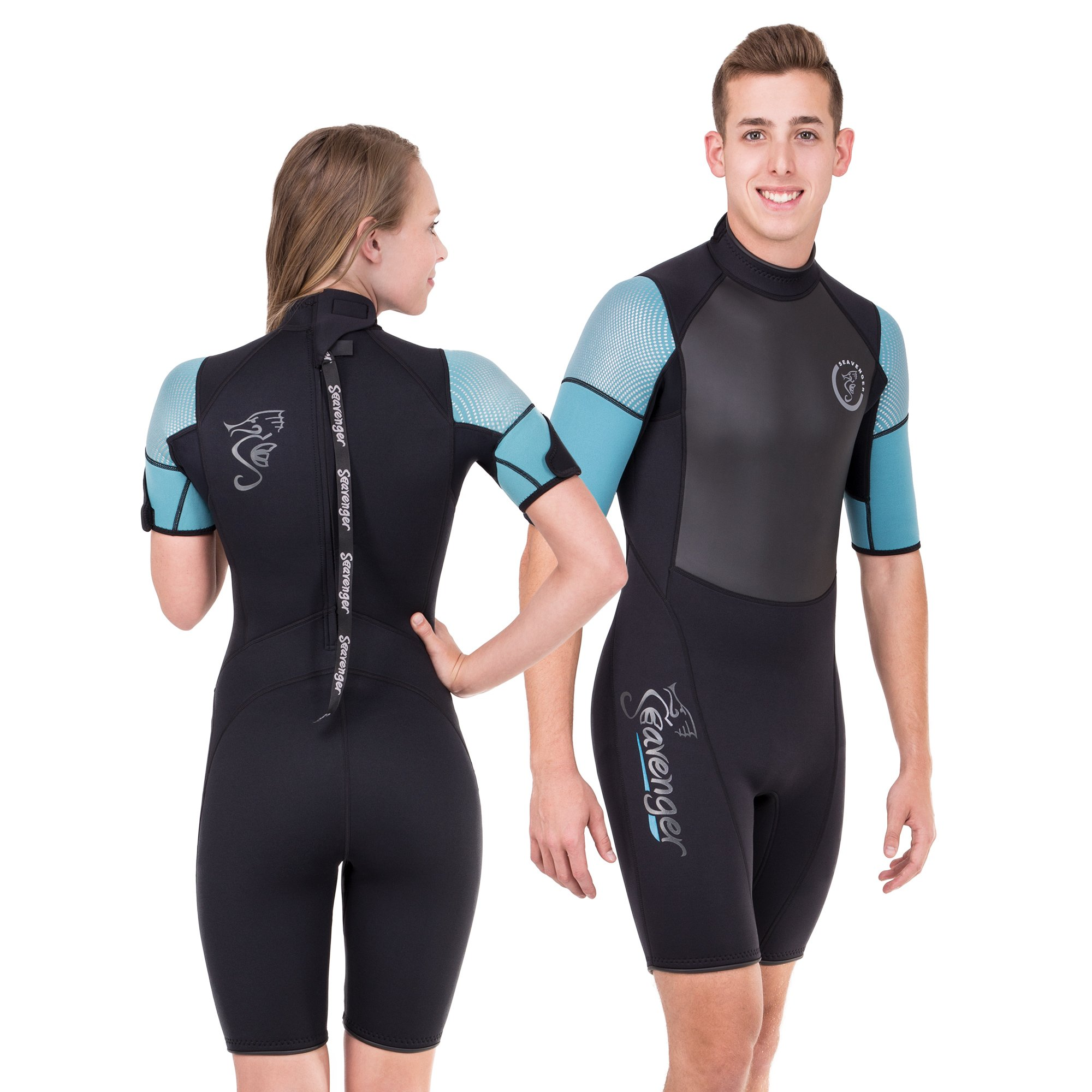 Seavenger Navigator 3mm Shorty | Short Sleeve Wetsuit for Men and Women | Surfing, Snorkeling, Scuba Diving (Surfing Aqua, Men's Small) by Seavenger (Image #1)