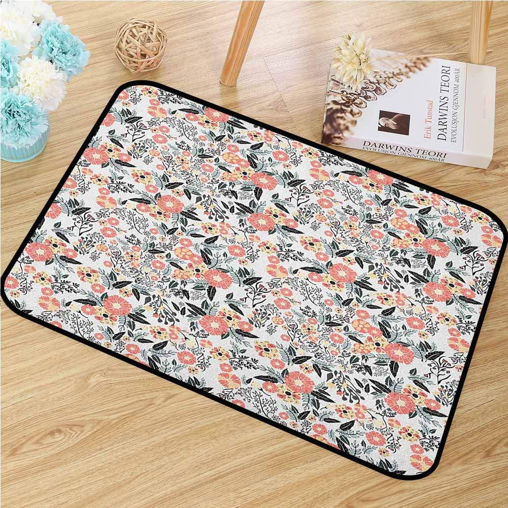 Leaf Welcome Door mat Abstract Garden Flowers Fresh Spring Nature Inspired Retro Style and Romantic Blossoms Door mat is odorless and Durable W29.5 x L39.4 Inch Multicolor