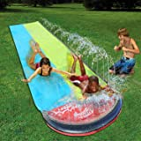 Water Slip and Slide for Kids Adults, Garden Backyard Giant Racing Lanes and Splash Pool, Outdoor Blow up Water Slides…