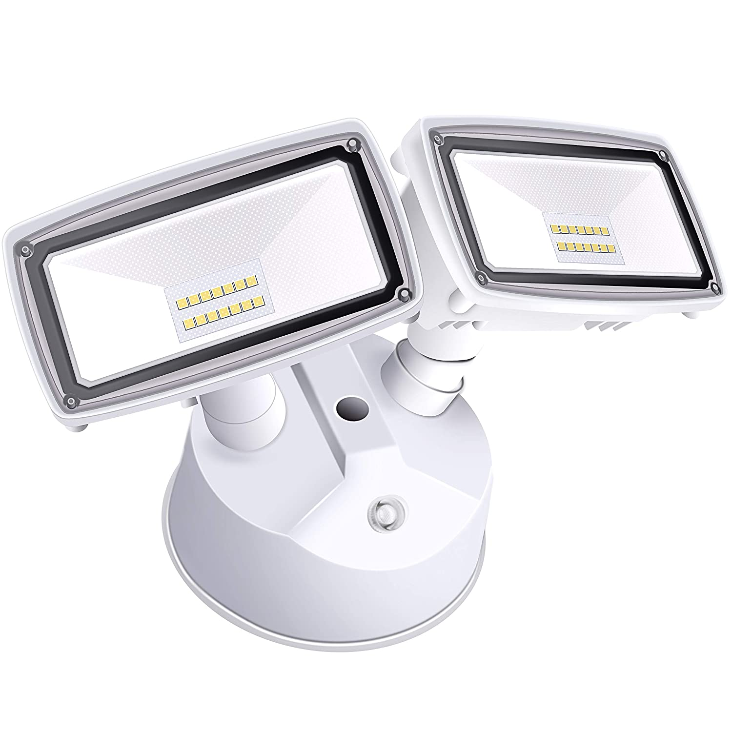 Amico 20W Dusk to Dawn LED Outdoor Lighting LED Security Lights [180W Equivalent] 6000K IP65 Waterproof Dual Head Flood Light