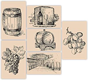 "Wine Wall Art | Beautiful Set of Six 11x17"" Themed Posters 