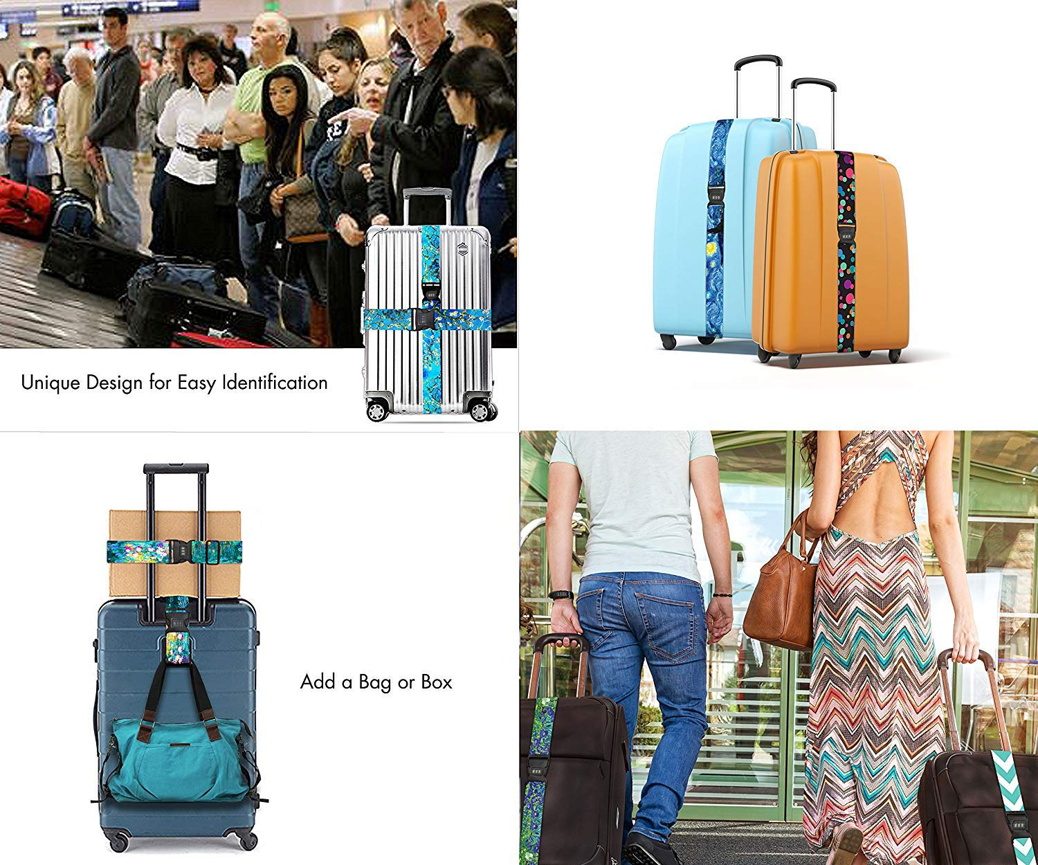 Luggage Strap Lock Adjustable Travel Belts Cool Crazy Retro Aqua And Red Suitcase Belt