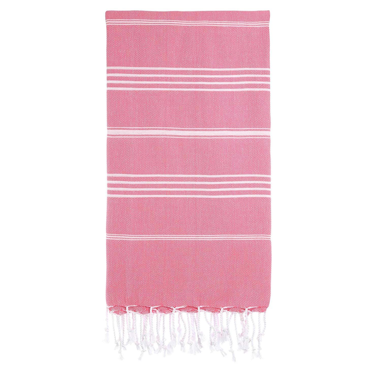 Pescara 100% Natural Organic Chemical Free Cotton Premium Quality Turkish Peshtemal Towel 37x70 Inches Prewashed Super Soft Thin Peshtemal Towel (Pink)