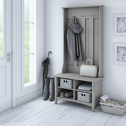 UNIVERSAL LTD Hall Tree with Storage Bench Shoe and Coat Rack in Cape Cod Gray Entryway Storage Organizer Easy Assembly Cape Cod Gray