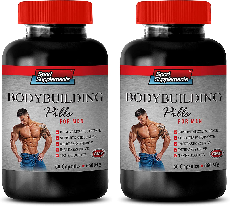 Energy Booster Vitamins - Bodybuilding Pills 660 MG - for Men - rhodiola rosea herb Supplement - 2 Bottles 120 Capsules