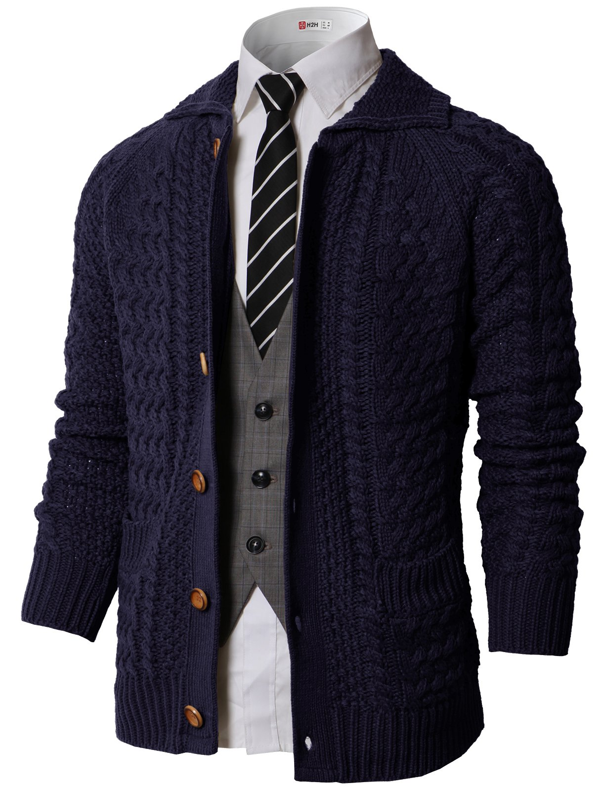 H2H Men's Shawl Collar Ribbed Button-up Cardigan Sweater Navy US M/Asia M (KMOCAL0177)