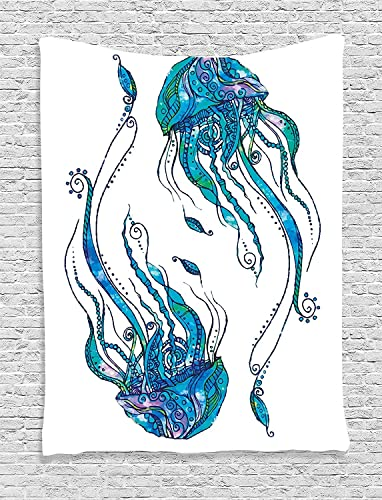 Ambesonne Jellyfish Tapestry, Jellyfish Shaped with Ornamental Patterns Bohemian Style Beach Themed Aqua Art, Wall Hanging for Bedroom Living Room Dorm Decor, 40 X 60 , Turquoise