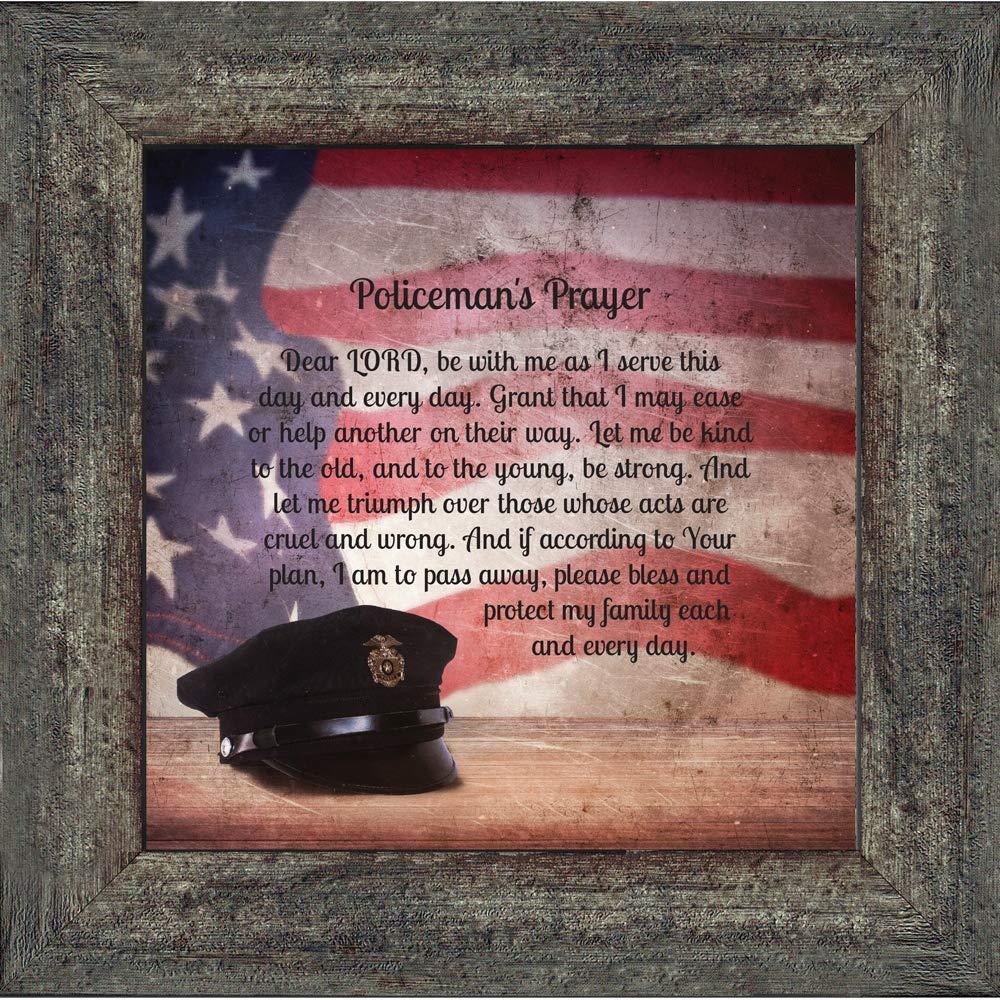 Elegantly Yours Policemans Prayer,Prayer for Policeman Picture Frame Gifts for Men Police Officer,10x10 8662BW