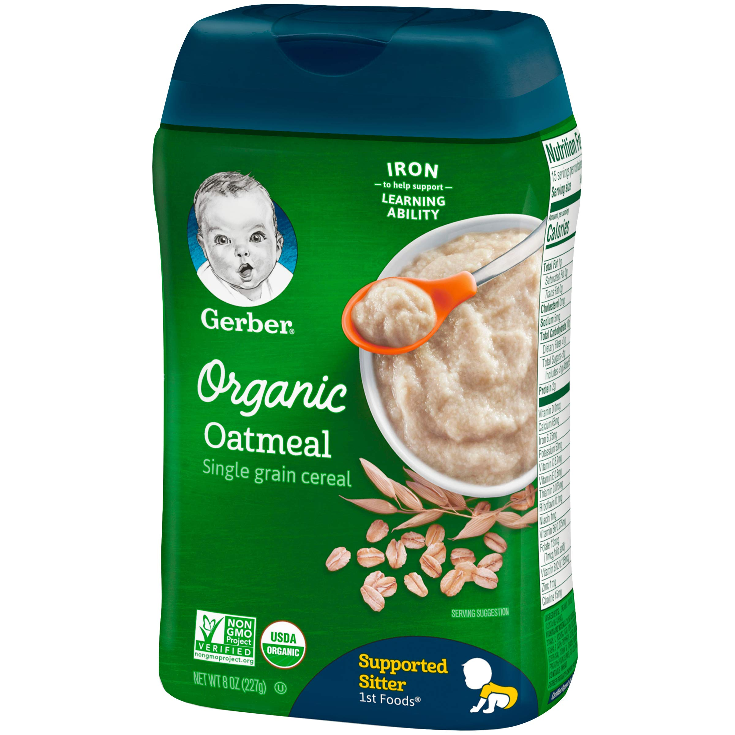Gerber Organic Single-Grain Oatmeal Baby Cereal, 8 Ounce (Pack of 6) by Gerber Baby Cereal (Image #5)