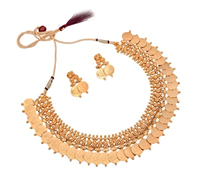 d2ace84958 Buy Sitashi Imitation/Fashion Jewellery Golden Beads Ornament in laxmi coin  Necklace Set For Women and Ladies Online at Low Prices in India | Amazon ...
