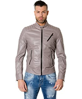 56fbbe468184 D Arienzo - U411 BIKER • couleur grise • blouson cuir homme style motard  cuir