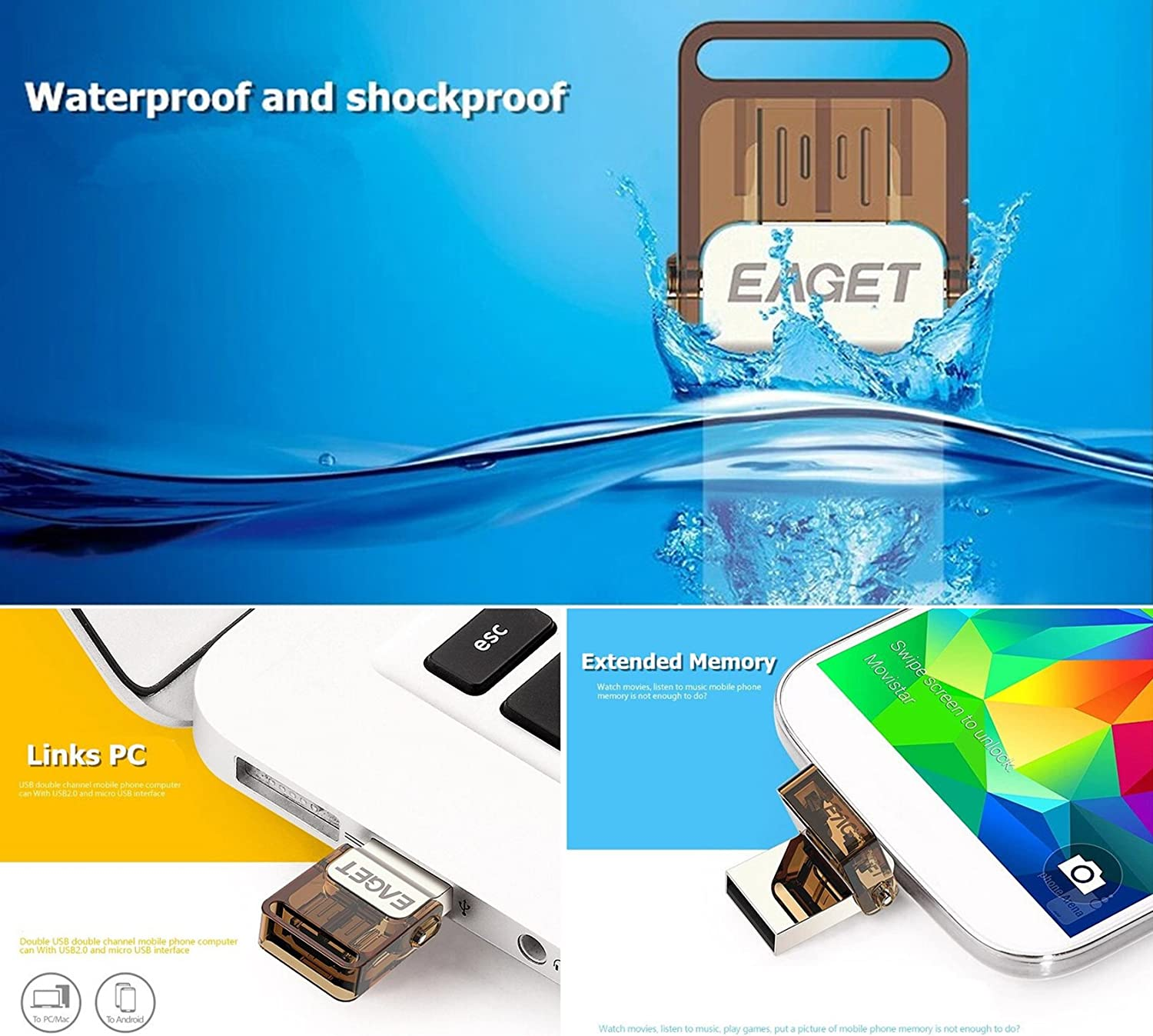 USB OTG Flash Drive Data traveler, EAGET V9 16GB Flash Memory Stick Metallic Dual Port Micro USB + USB2.0 Pen Drive with Compact Size Waterproof & ...