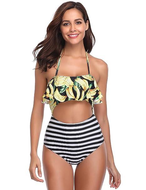 bde70e9018dba9 MarinaVida Halter Ruffle One Piece Bathing Suit Cutout High Waist Swimsuits  for Women at Amazon Women s Clothing store