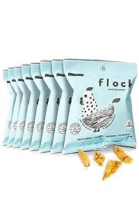 Flock Keto Chicken Skin Chips | 100% Real Chicken | Low Carb, High Protein, Sugar Free, Gluten Free Single Serve Snack | Salt and Vinegar Flavor, 8-Pack