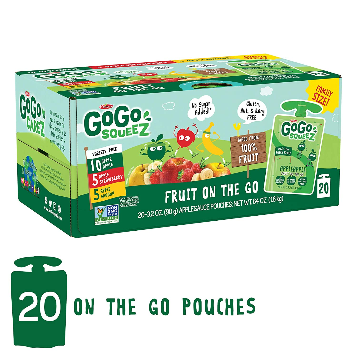 GoGo squeeZ Applesauce on the Go, Variety Pack (Apple/Banana/Strawberry), 3.2 Ounce (20 Pouches), Gluten Free, Vegan Friendly, Unsweetened, Recloseable BPA Free Pouch (Packaging May Vary)
