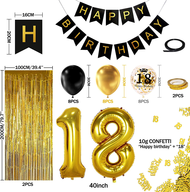 "6 Latex 18th Happy Birthday Party Balloons Gold /& Black Helium Quality 30cm 12/"""