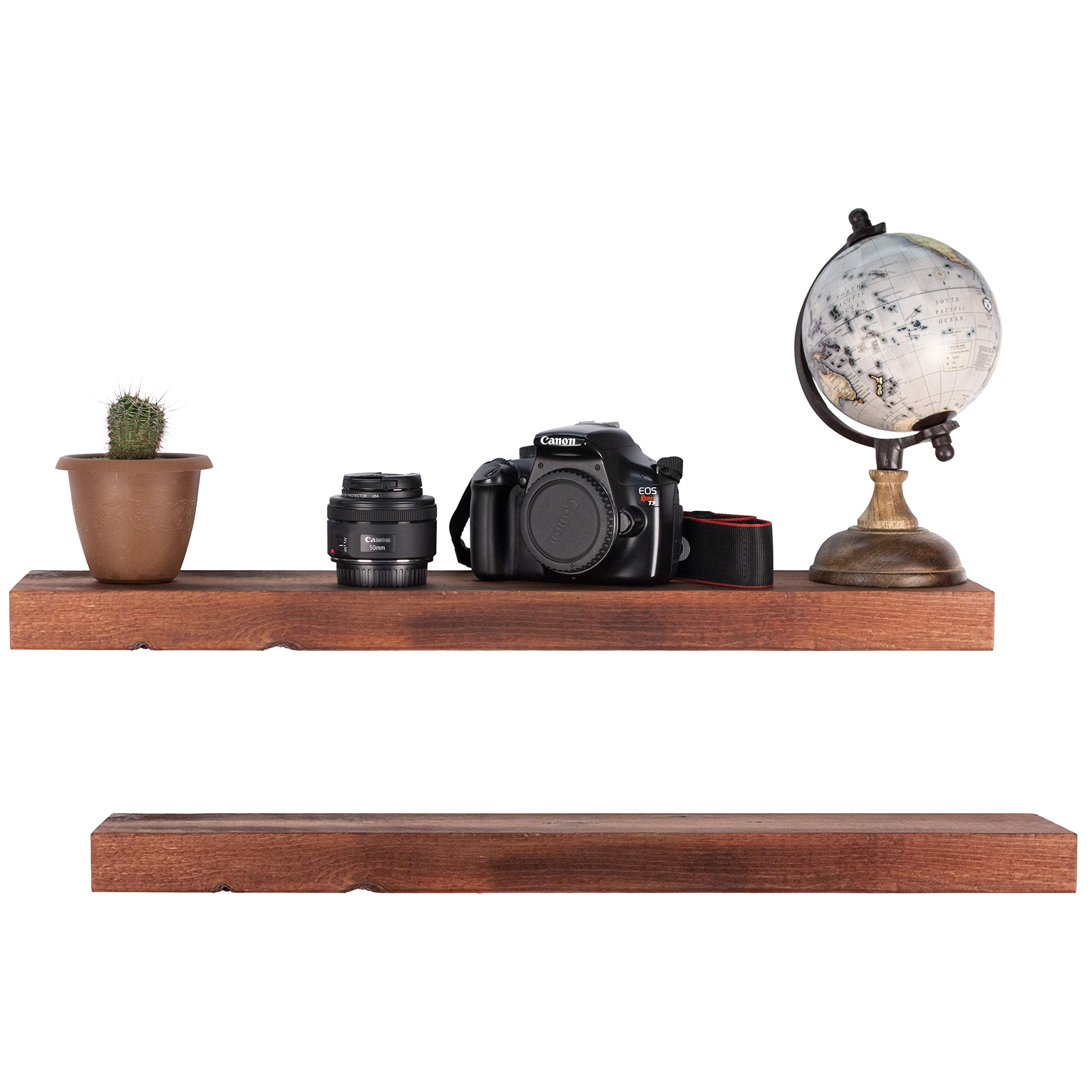 Floating Shelves Wall Mounted Shelf - Rustic Wood Decor Hanging for Bathroom Kitchen Bedrooms Living Room or Office Walls - Sturdy & Decorative Shelving Storage Rack - USA Made - 2 FT. Mahogany 2-Pack by US2U Displays (Image #5)