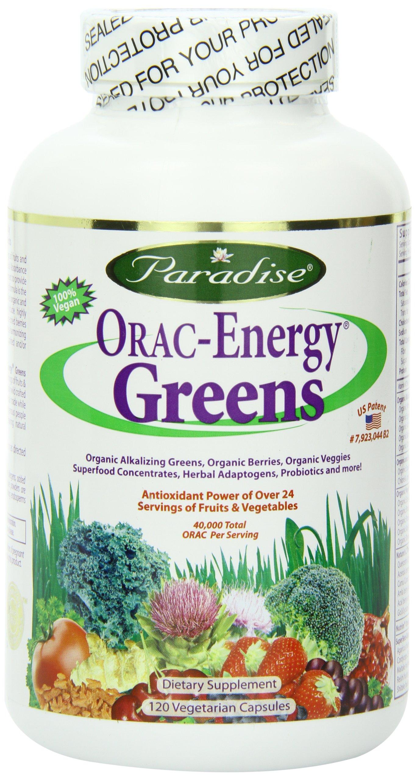 Paradise Herbs Orac Energy Vegetarian Capsules, Greens, 120 Count