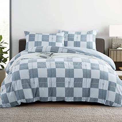 Reversible Duvet Cover Set,Grey Bedding Set,Check Pattern Comforter Cover Set,Queen,Plaid Quilt Cover,Grey Reverse to Ivory
