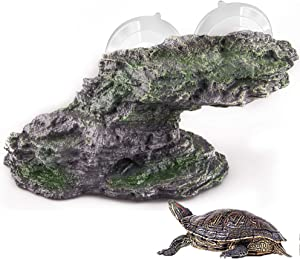 Originalidad Turtle Basking Platform, Resin Step Ledge Stone Reptile Climbing Shale Aquarium Ornament Rock with Suction Cups for Turtles Frogs Newts Amphibians Lizard