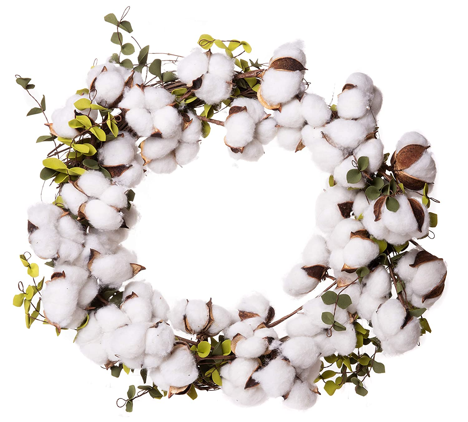 Red Co. Farmhouse Full White Cotton Wreath with Eucalyptus Leaves - Home Décor 22