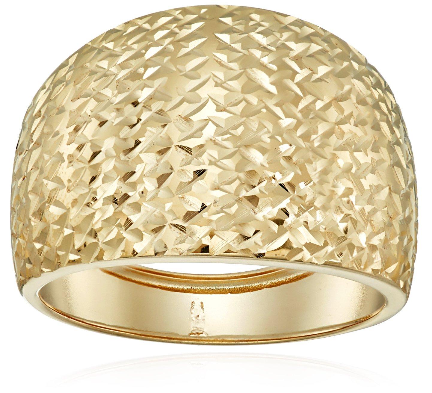 14k Yellow Gold Italian Bold Diamond-Cut Dome Band Ring, Size 8