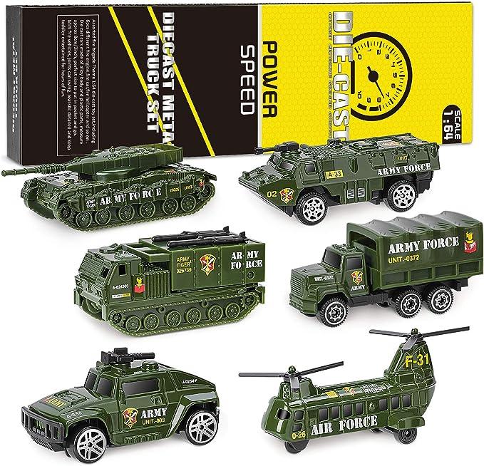 XDDIAS Vehículo Militar Juguete, 6 Pcs Mini Modelos Coche Militar de Juguete, Militares Helicóptero Tanque Jeep Camión Coche Blindado para Niños, Surtidos: Amazon.es: Juguetes y juegos