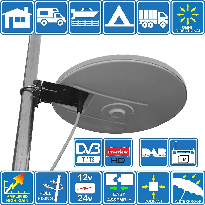 Helio - Antena de TV HD Digital omnidireccional con 33dB Incorporado en Amplificador para TDT FM Dab. Fuente de alimentación de 12V / 24V para Autocaravanas Camiones Caravanas Barcos por Unispectra®