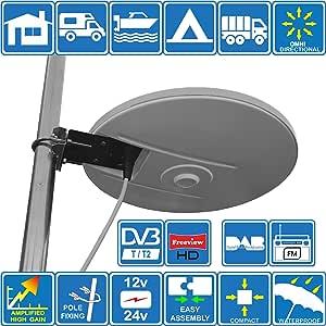 Helio - Antena de TV HD Digital omnidireccional con 33dB Incorporado en Amplificador para TDT FM Dab. Fuente de alimentación de 12V / 24V para ...