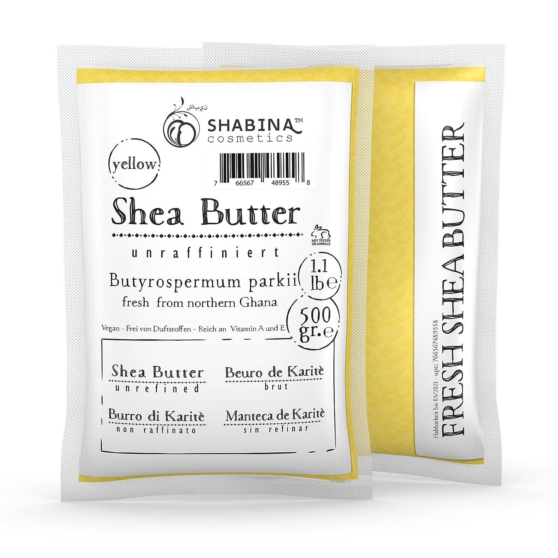 shabina Shea Butter unraffiniert Yellow Pure Premium 100% puro burro di karitè 500gr, 1.1lb–407 1.1lb-407 vidimento