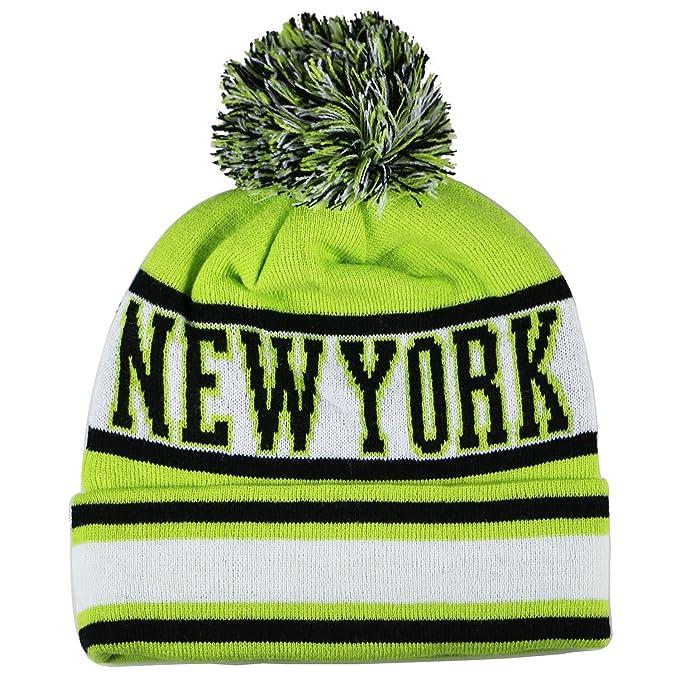 92cd81955f364 Amazon.com  City Hunter Sk1130 New York Stripes Pom Pom Beanie Hats ...