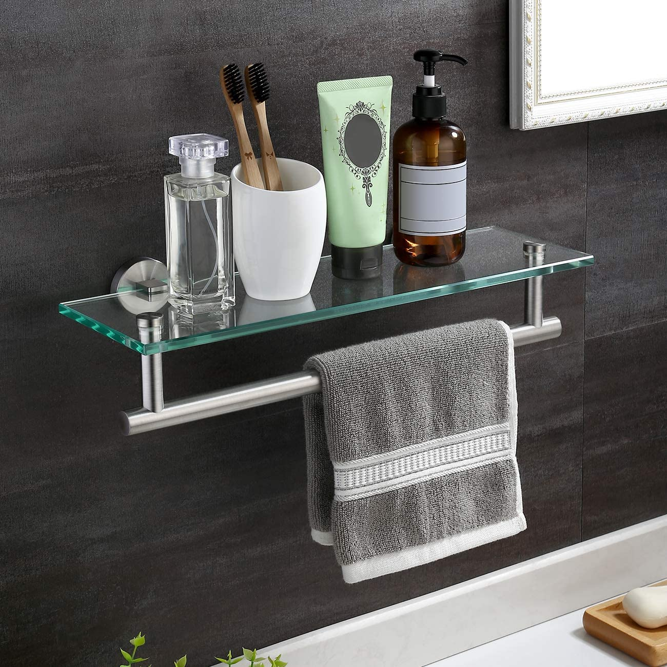 Amazon Com Kes Glass Shelf 16 Tempered Glass Floating Shelf Wall Mount Glass Shelves For Bathroom Wall Shelf With Towel Bar Sus304 Stainless Steel Glass Shower Shelf Brushed Steel A2022 2 Kitchen Dining
