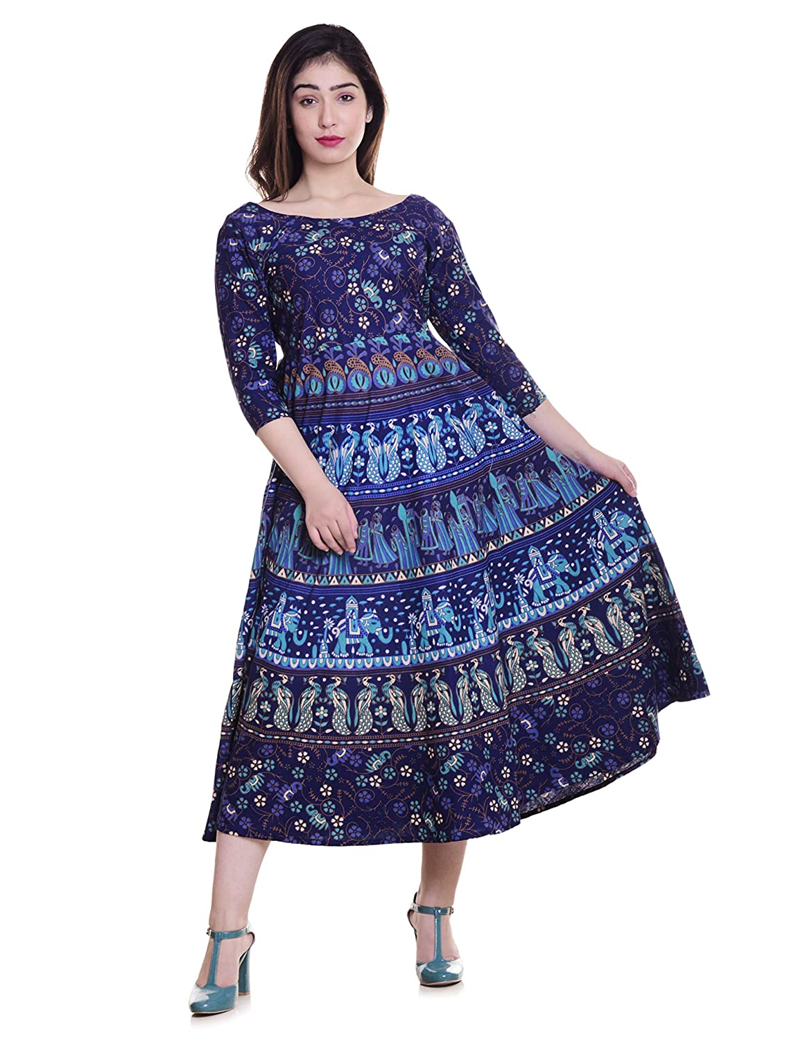 cd83aea8b7b Jaipuri Fashionista Cotton Women s Maxi Long Dress Jaipuri Printed with  Atteched Sleeves (Free Size Upto 44-XXL) Blue  Amazon.in  Clothing    Accessories
