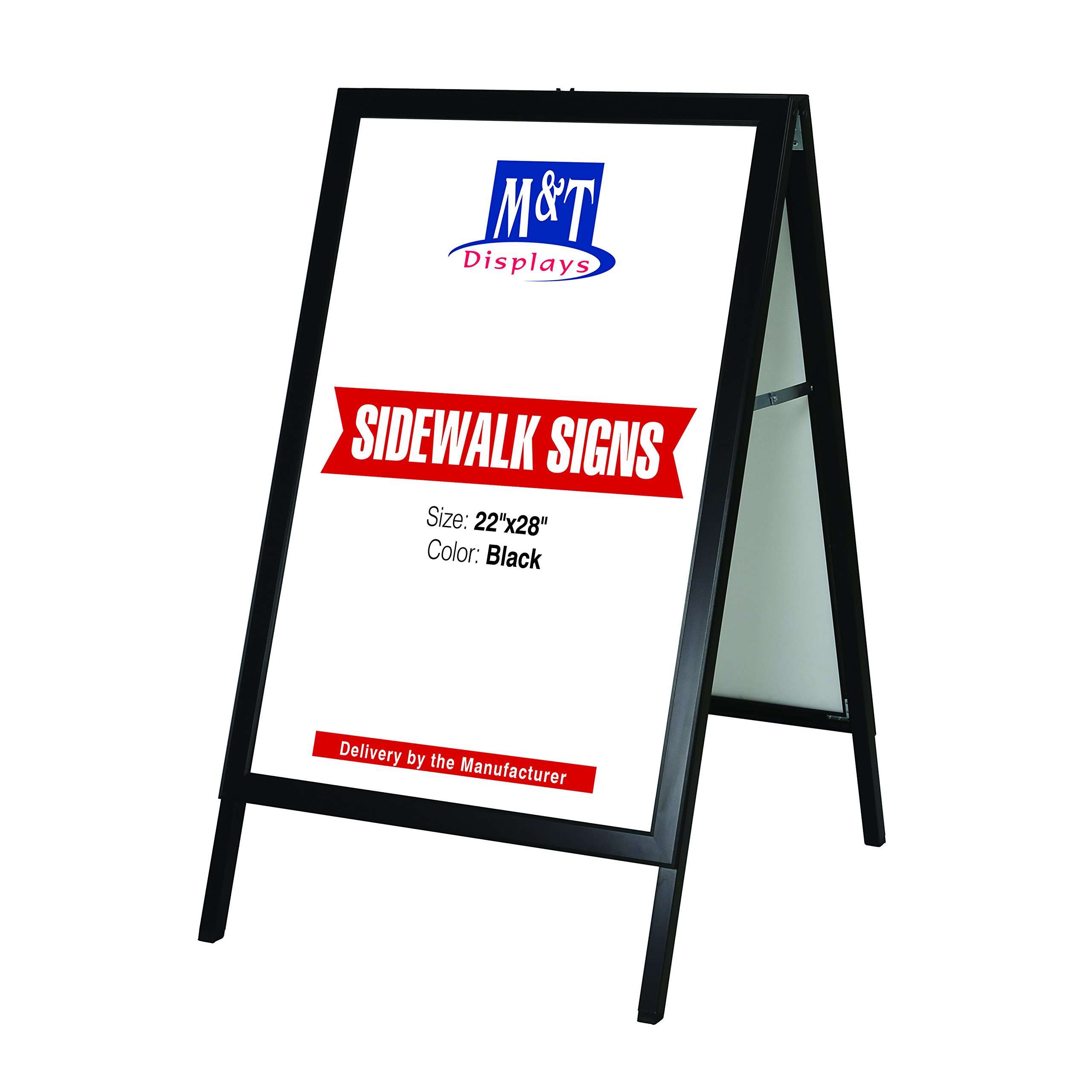 Free Standing Sidewalk Business Restaurant Advertising Display Slide-in A Frame, 22x28 Poster Size, Black by M&T Displays