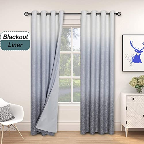 Central Park Ombre 85 Blackout Room Darkening Window Curtains for Bedroom Heavy Linen Texture 8 Grommets Top Gradient Print Cream White to Navy Blue Curtain for Living Room 50 x 108 , 1 Piece