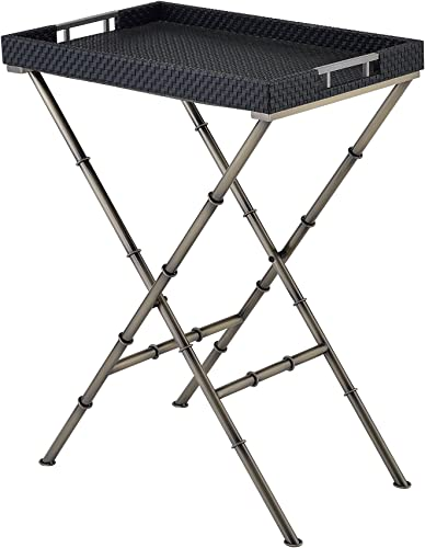 ACME Furniture Acme 98278 Lajos Tray Table, Black Weave Antique Gold, One Size
