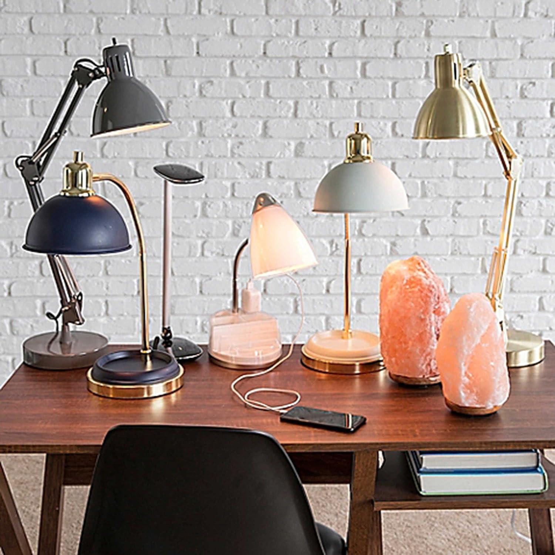 Studio 3B Gooseneck Bedside Table Lamp With USB Port And Metal Shade Black