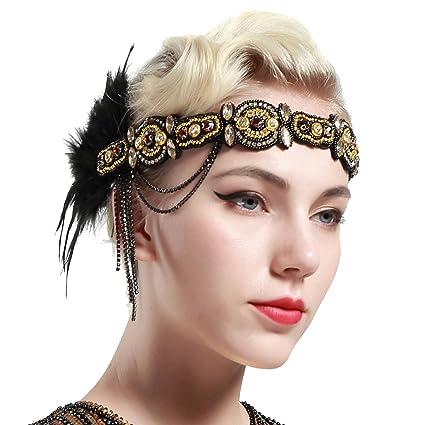 6865b4074b203 Artideco vintage 1920S Headband 1920S copricapo piuma decorato con perline  di cristallo grande Gatsby costume accessori roaring anni 20 accessori  ...